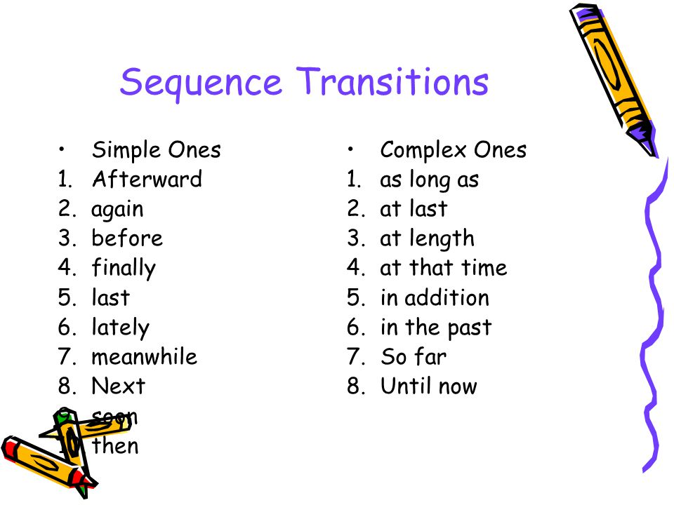 Sequence Transitions Simple Ones Afterward again before finally last