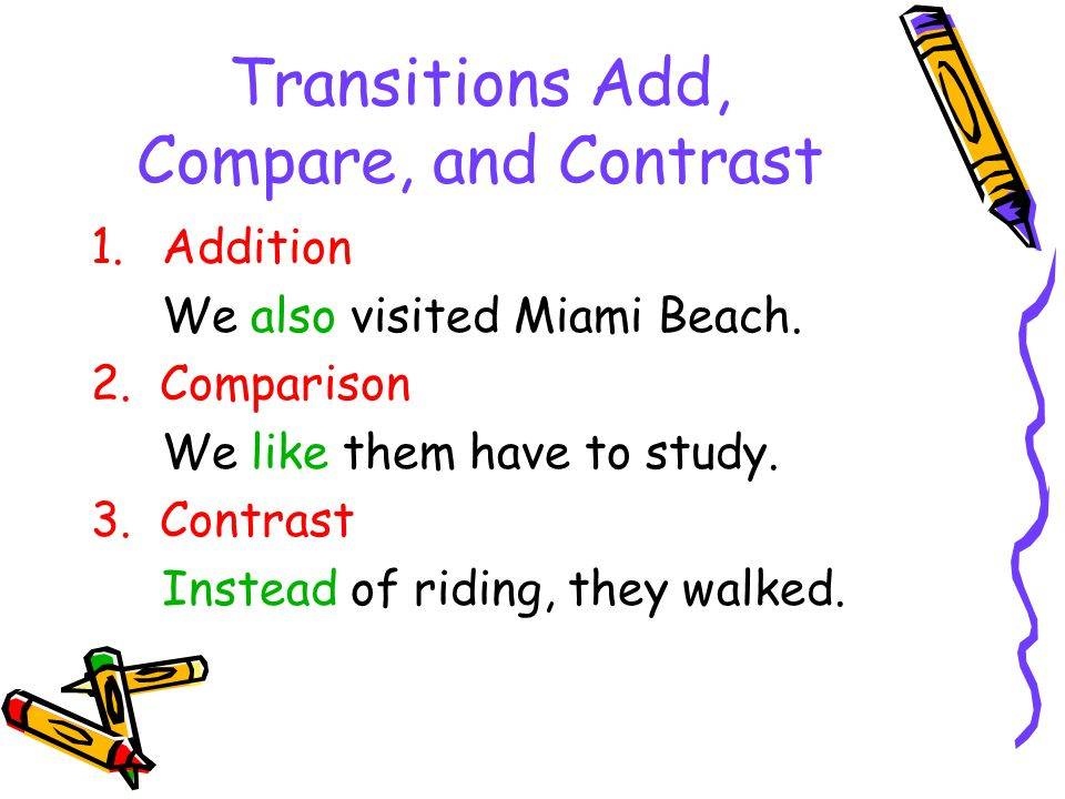Transitions Add, Compare, and Contrast