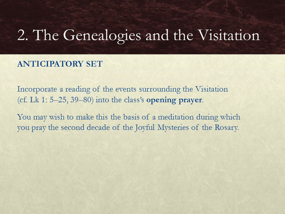 2. The Genealogies and the Visitation