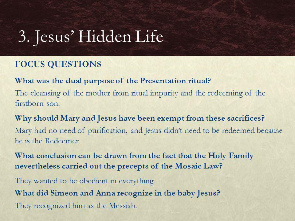 3. Jesus' Hidden Life FOCUS QUESTIONS