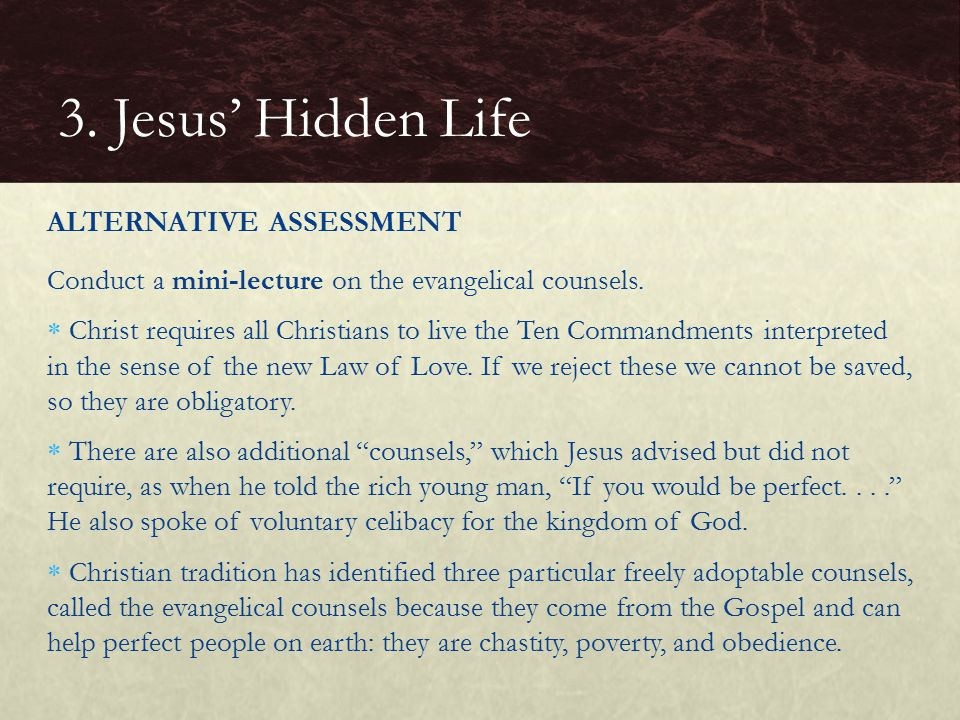 3. Jesus' Hidden Life ALTERNATIVE ASSESSMENT