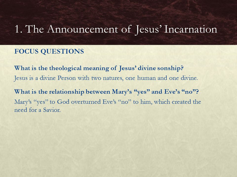 1. The Announcement of Jesus' Incarnation