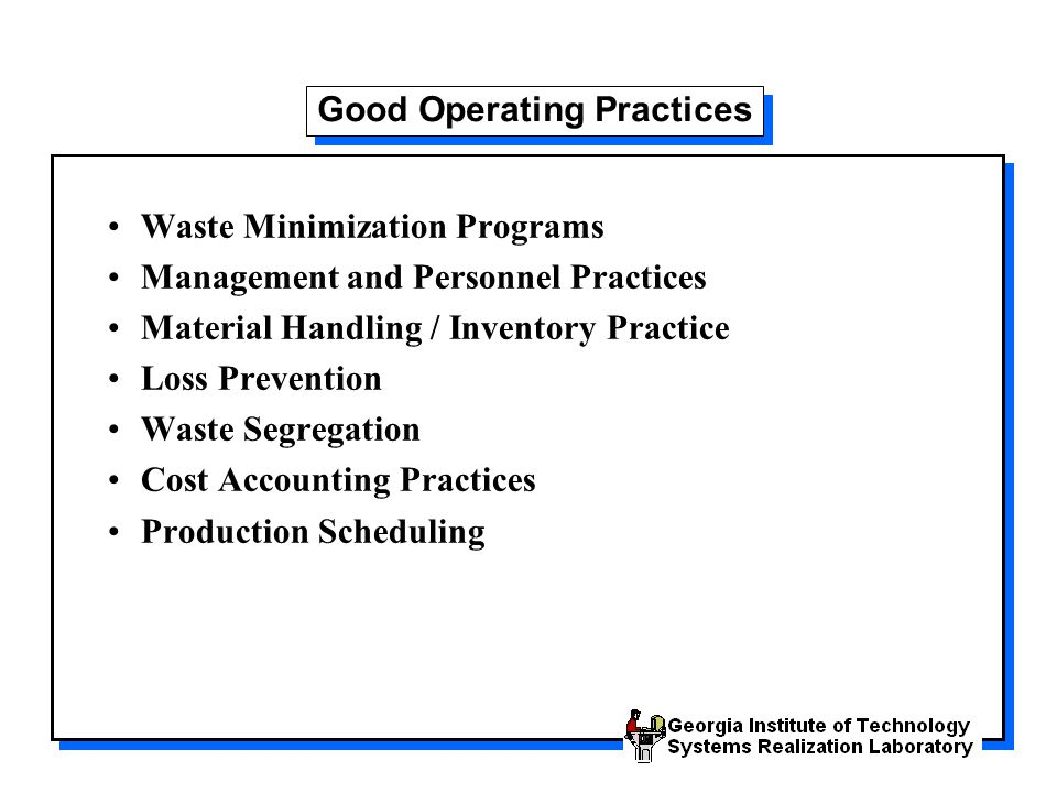 Good Operating Practices