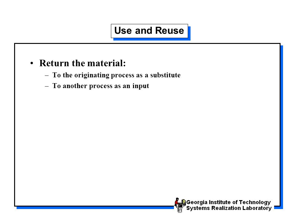 Use and Reuse Return the material:
