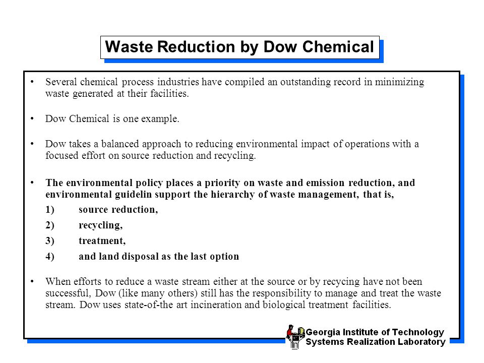 Waste Reduction by Dow Chemical