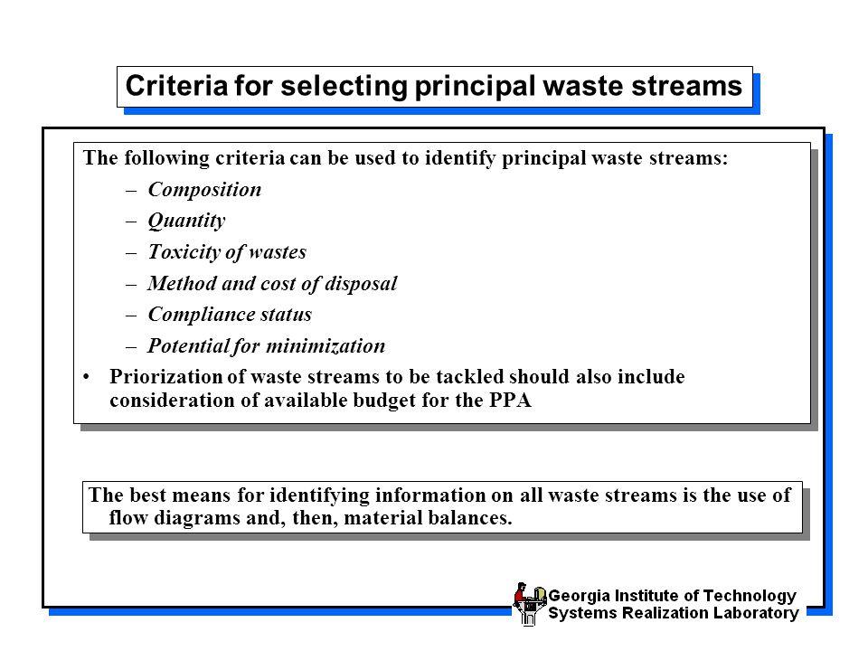 Criteria for selecting principal waste streams