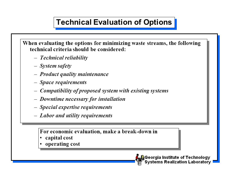 Technical Evaluation of Options