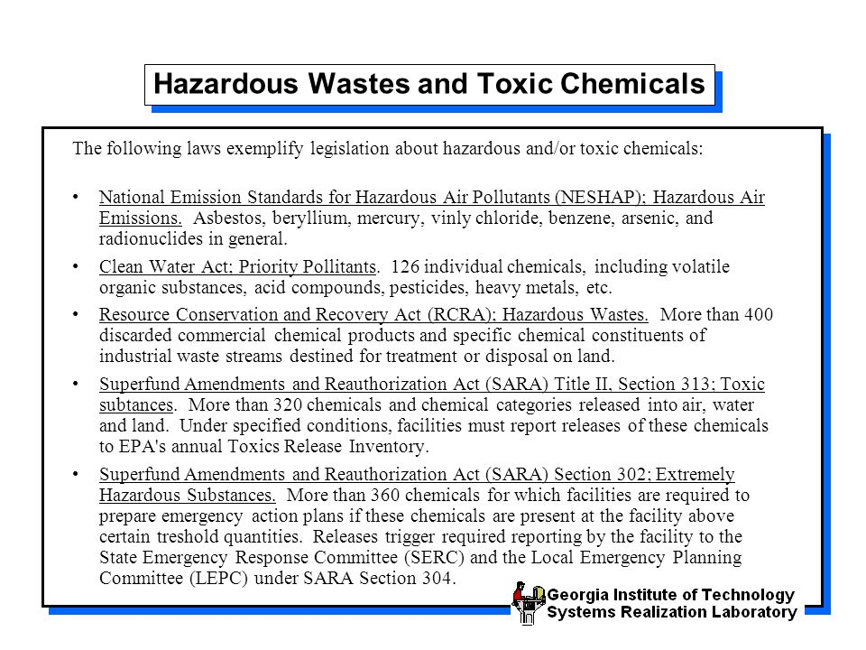Hazardous Wastes and Toxic Chemicals