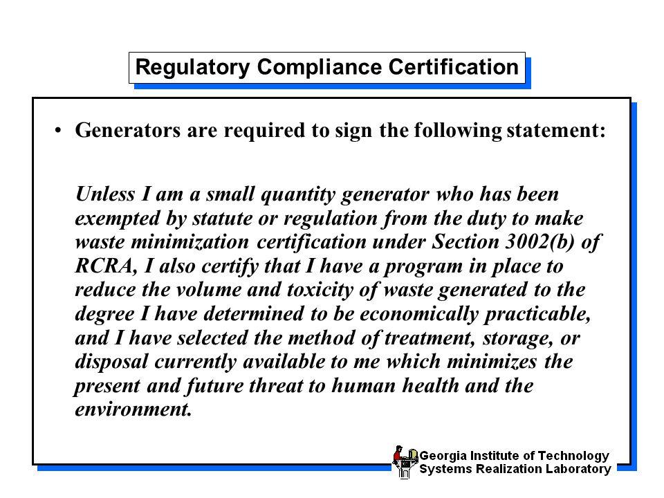 Regulatory Compliance Certification