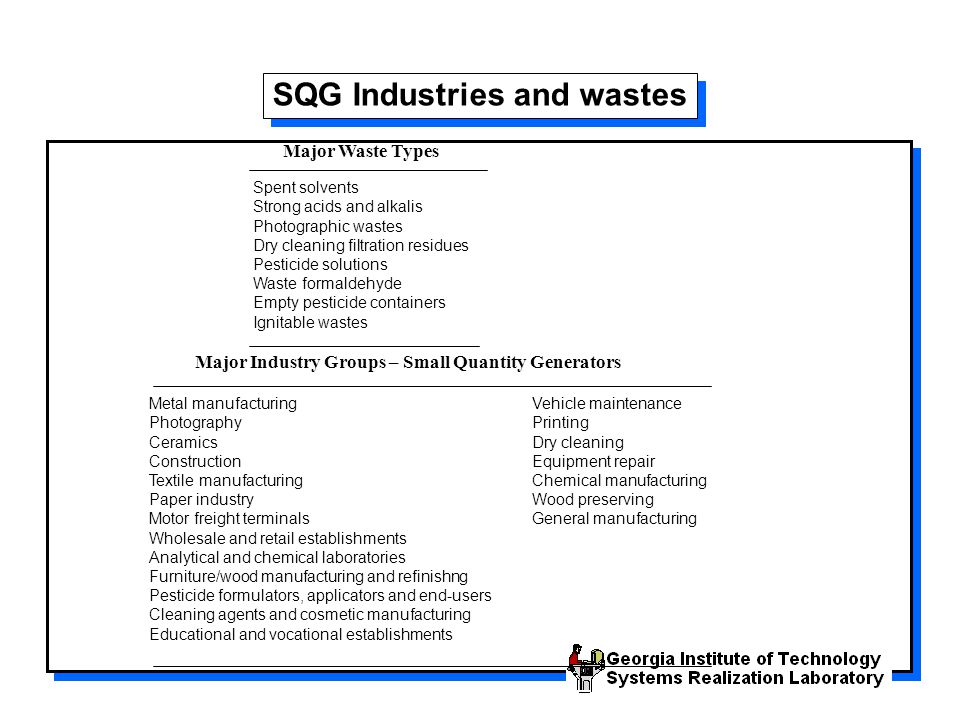 SQG Industries and wastes