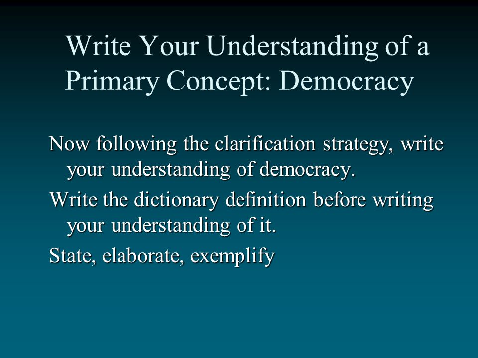 Write Your Understanding of a Primary Concept: Democracy