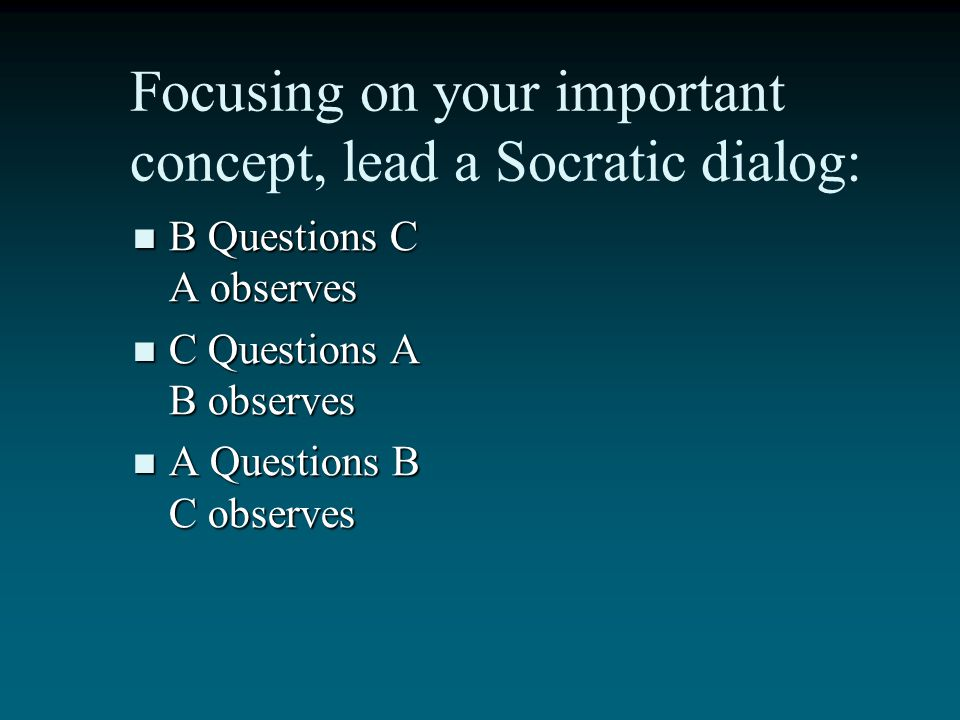 Focusing on your important concept, lead a Socratic dialog: