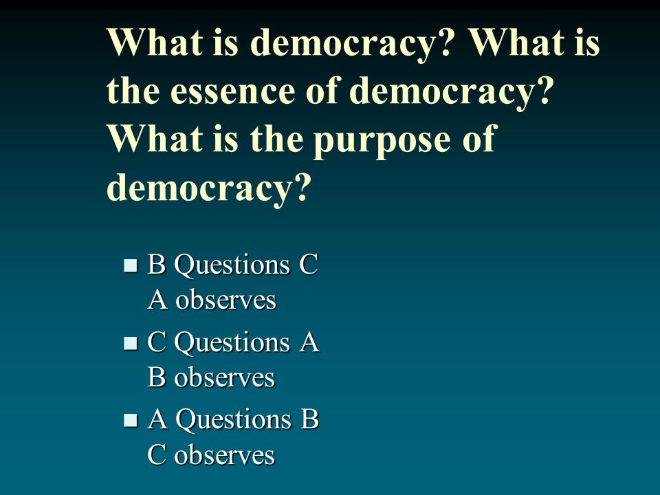What is democracy. What is the essence of democracy