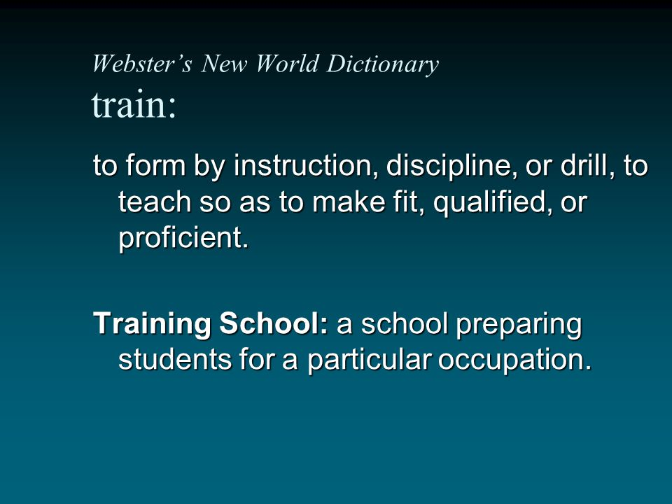 Webster's New World Dictionary train: