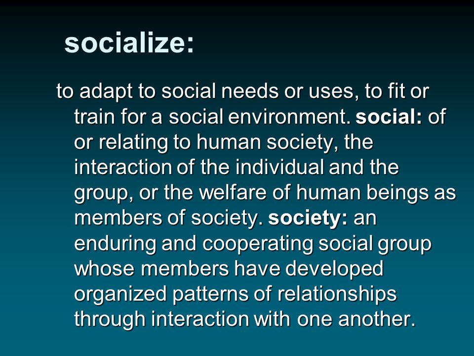 socialize: