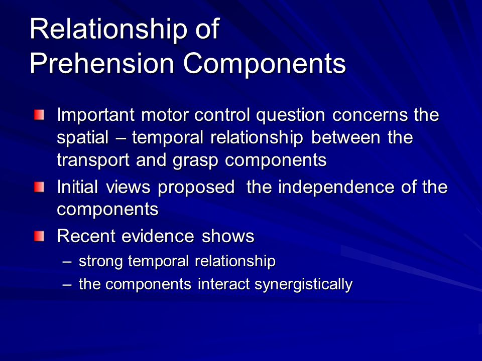Relationship of Prehension Components