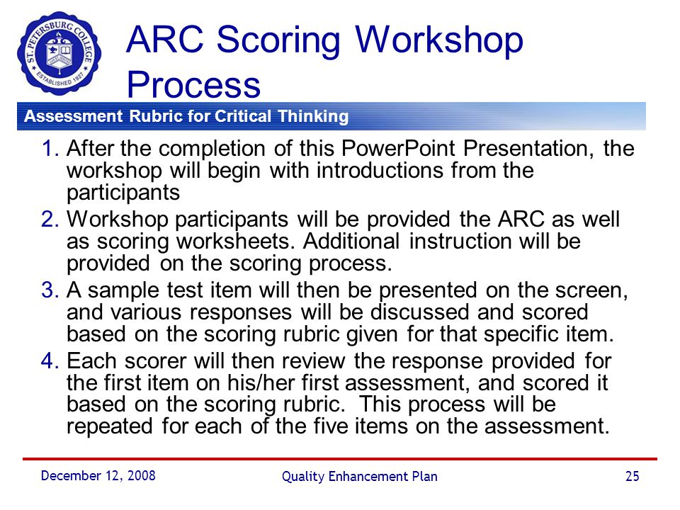 ARC Scoring Workshop Process