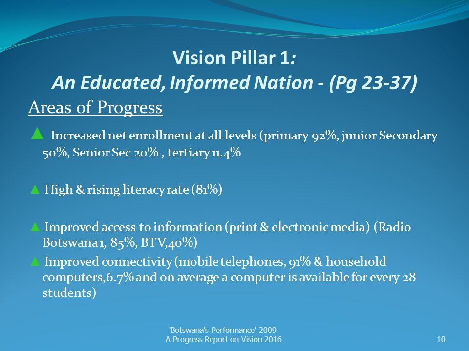 Vision Pillar 1: An Educated, Informed Nation - (Pg 23-37)