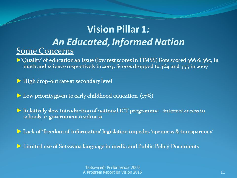Vision Pillar 1: An Educated, Informed Nation