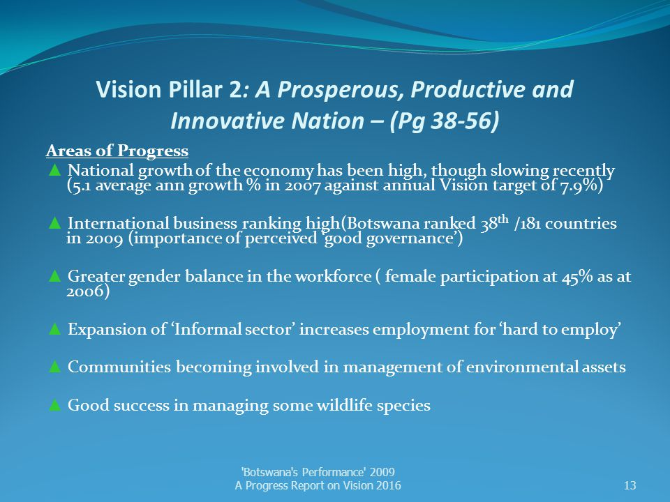 Vision Pillar 2: A Prosperous, Productive and Innovative Nation – (Pg 38-56)