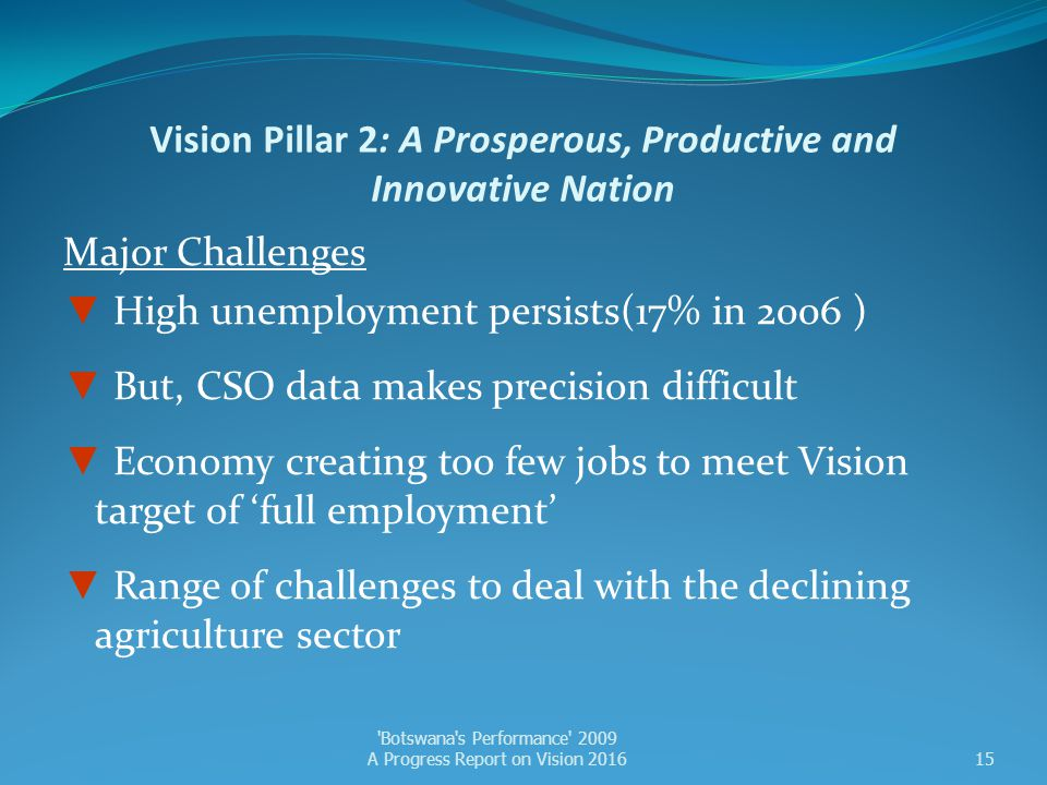 Vision Pillar 2: A Prosperous, Productive and Innovative Nation