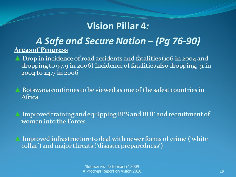 Vision Pillar 4: A Safe and Secure Nation – (Pg 76-90)