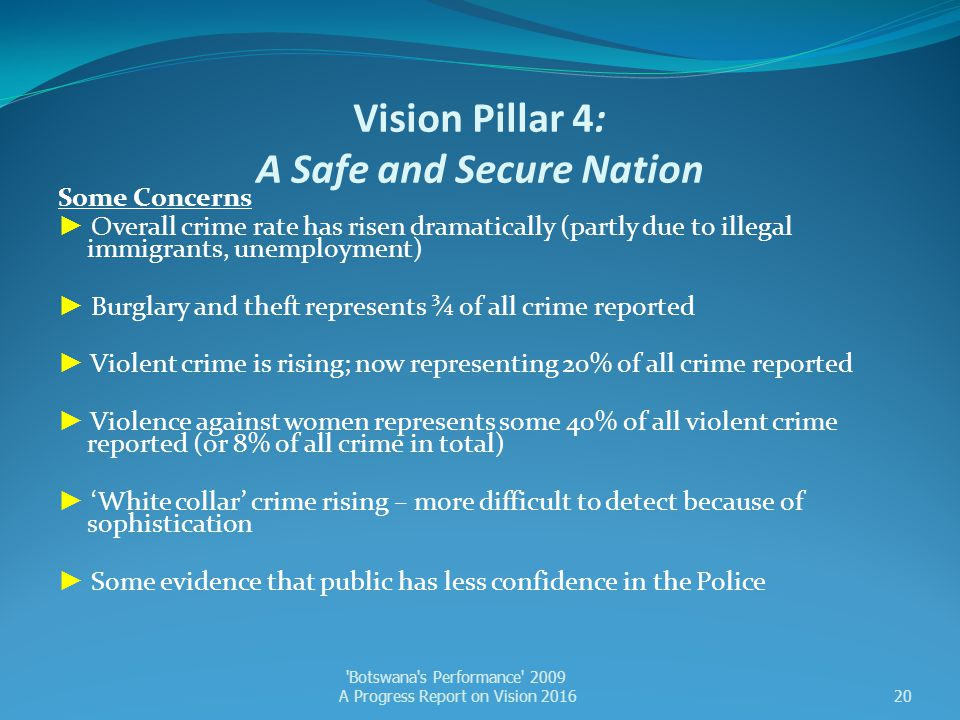Vision Pillar 4: A Safe and Secure Nation