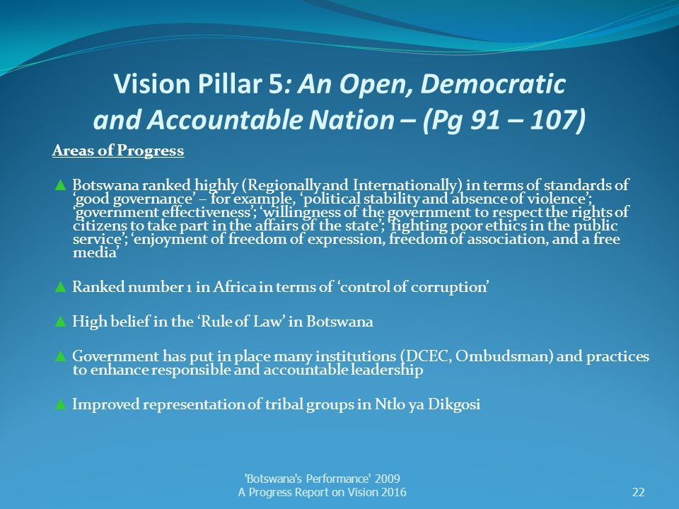 Vision Pillar 5: An Open, Democratic and Accountable Nation – (Pg 91 – 107)