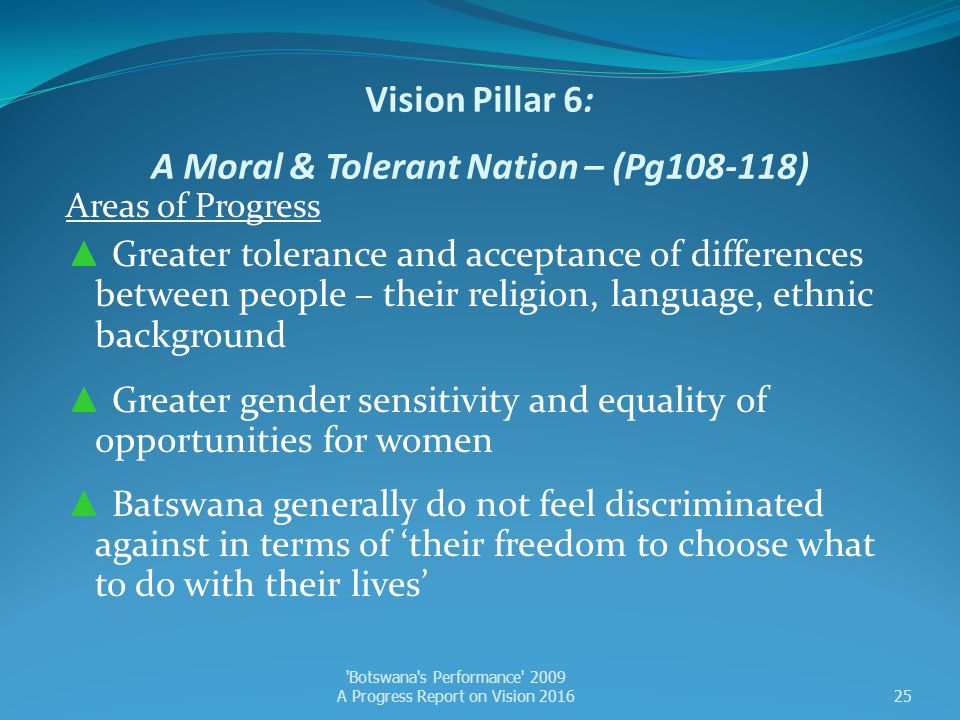 Vision Pillar 6: A Moral & Tolerant Nation – (Pg108-118)