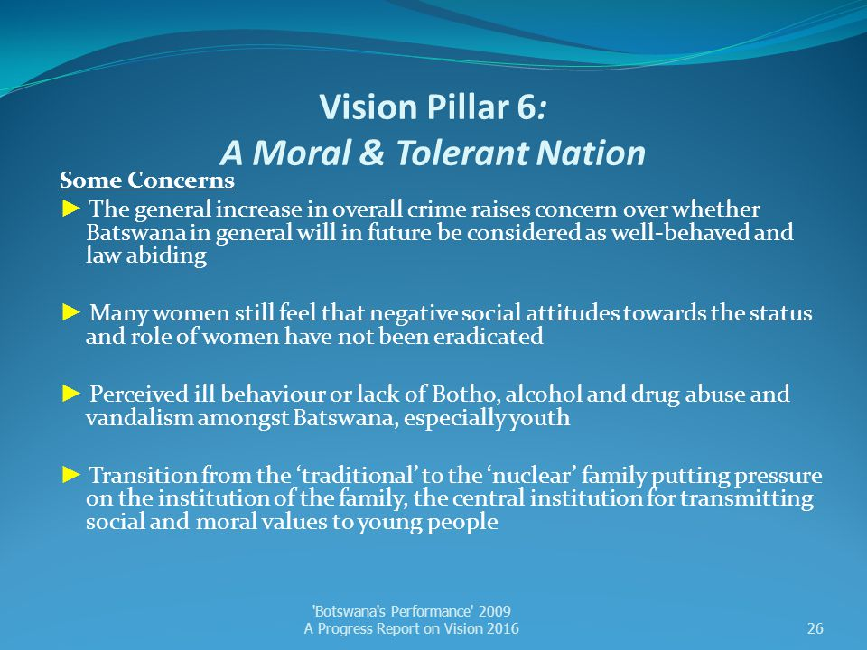 Vision Pillar 6: A Moral & Tolerant Nation