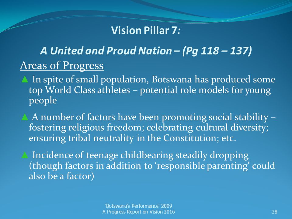 Vision Pillar 7: A United and Proud Nation – (Pg 118 – 137)