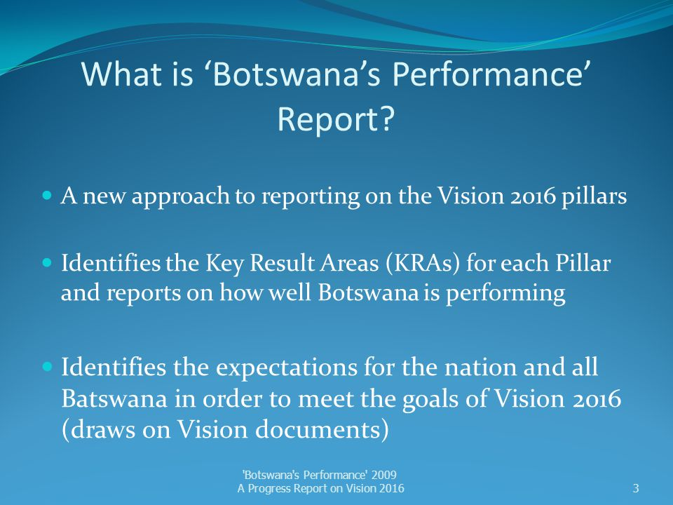 What is 'Botswana's Performance' Report