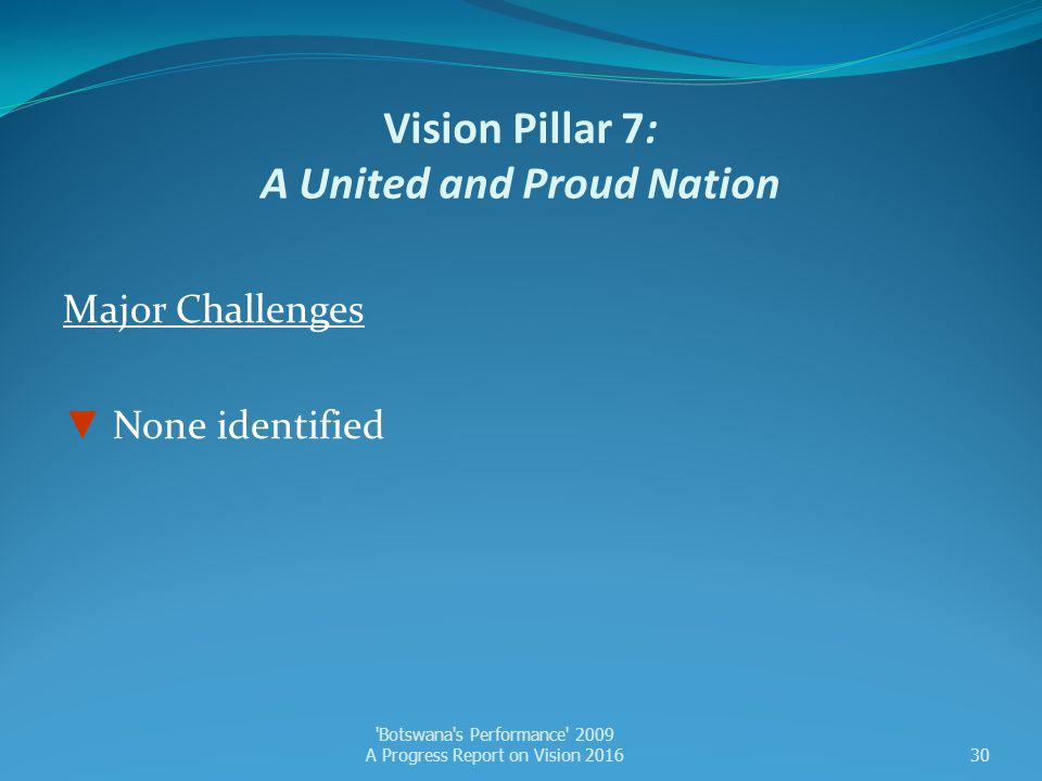 Vision Pillar 7: A United and Proud Nation