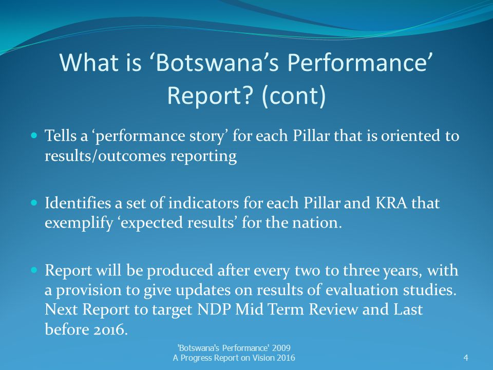 What is 'Botswana's Performance' Report (cont)