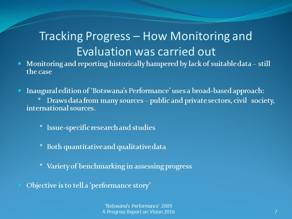 Tracking Progress – How Monitoring and Evaluation was carried out