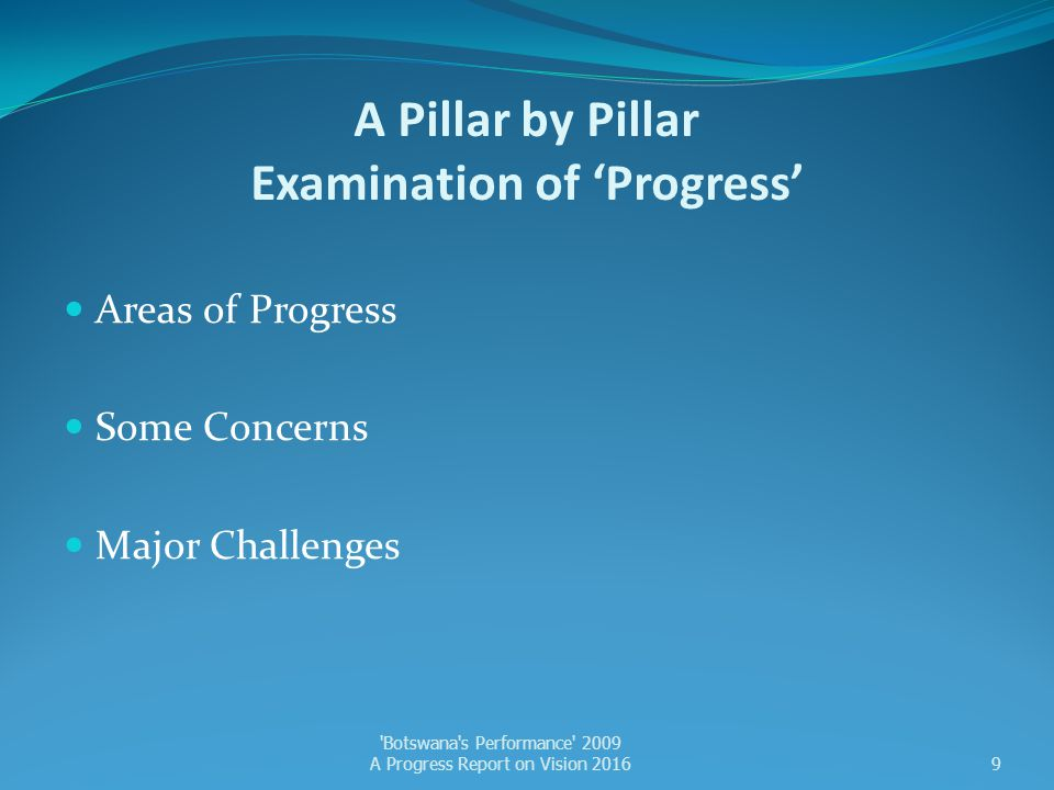 A Pillar by Pillar Examination of 'Progress'