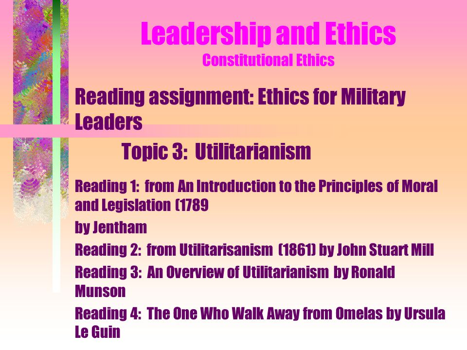 Leadership and Ethics Constitutional Ethics