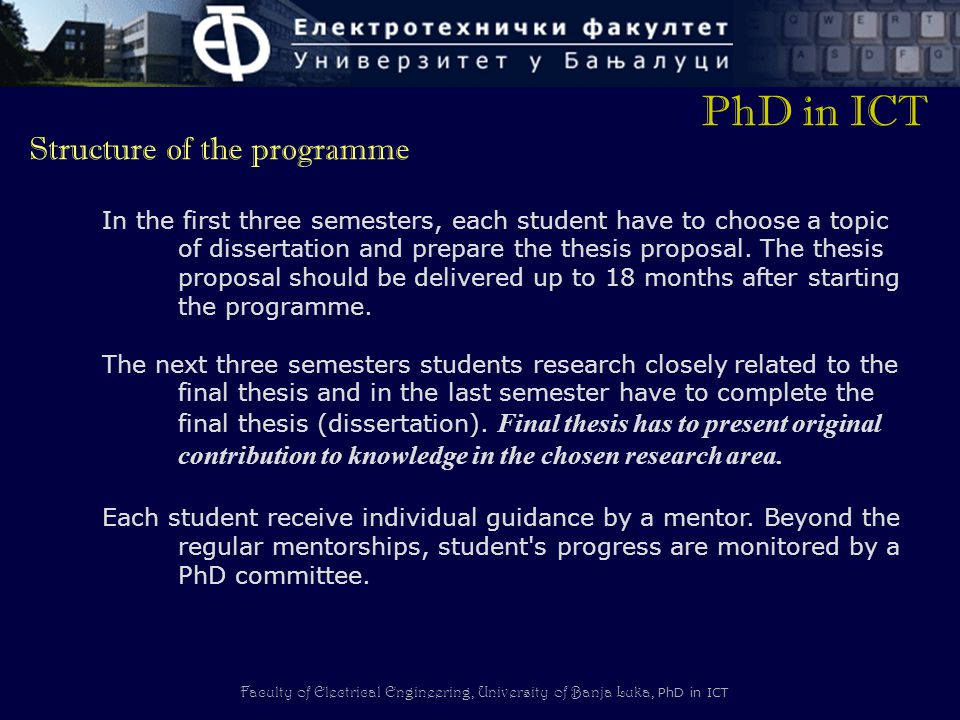 PhD in ICT Structure of the programme