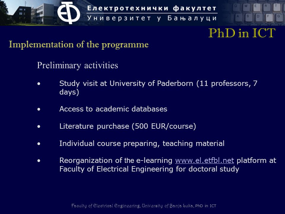 PhD in ICT Implementation of the programme Preliminary activities