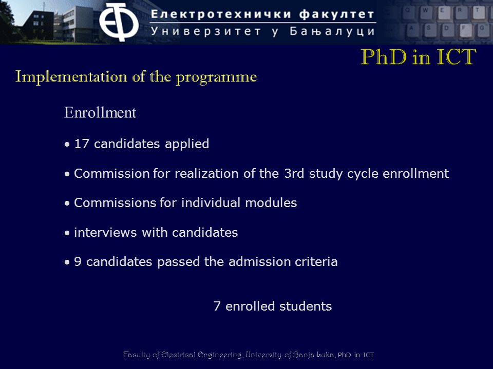 PhD in ICT Implementation of the programme Enrollment