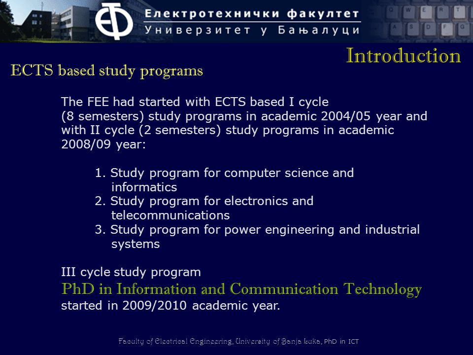 Introduction ECTS based study programs