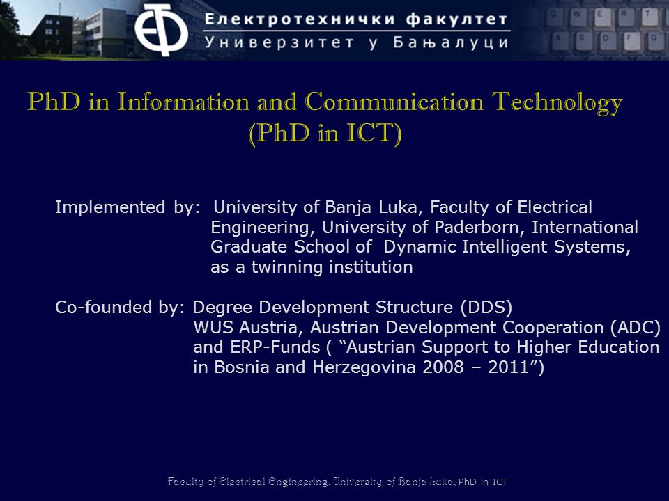 PhD in Information and Communication Technology (PhD in ICT)