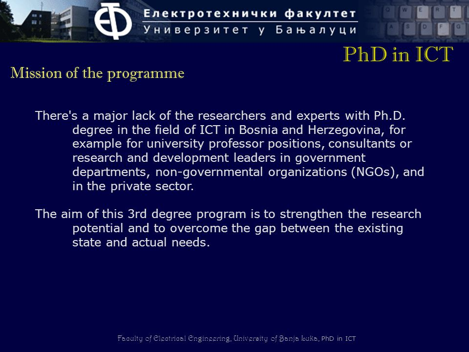 PhD in ICT Mission of the programme