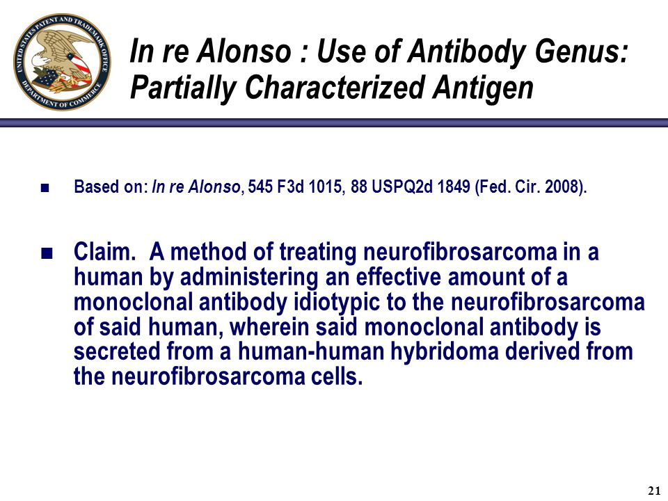 In re Alonso : Use of Antibody Genus: Partially Characterized Antigen