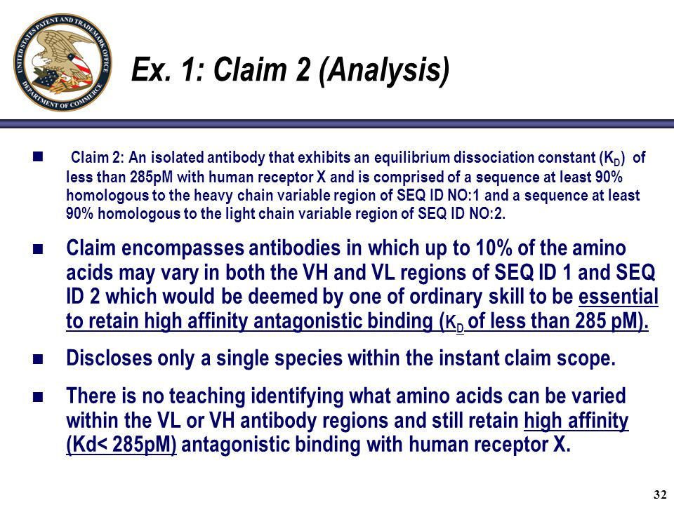 Ex. 1: Claim 2 (Analysis)
