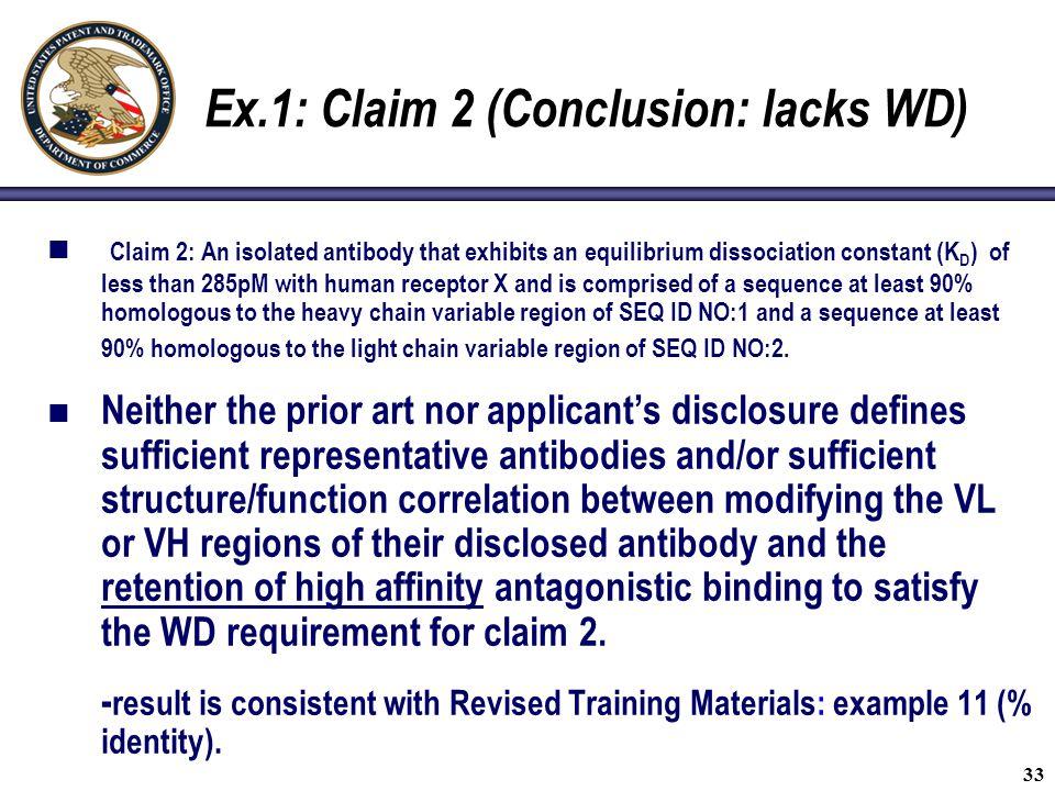 Ex.1: Claim 2 (Conclusion: lacks WD)
