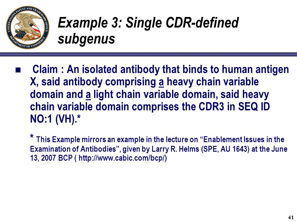 Example 3: Single CDR-defined subgenus