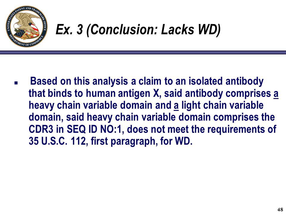 Ex. 3 (Conclusion: Lacks WD)
