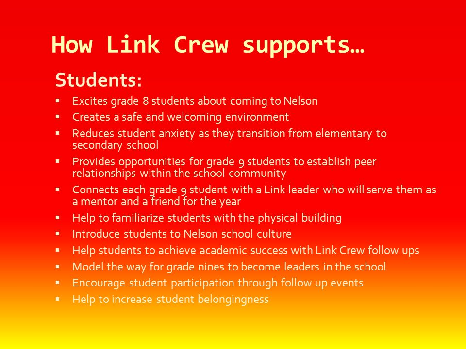 How Link Crew supports…