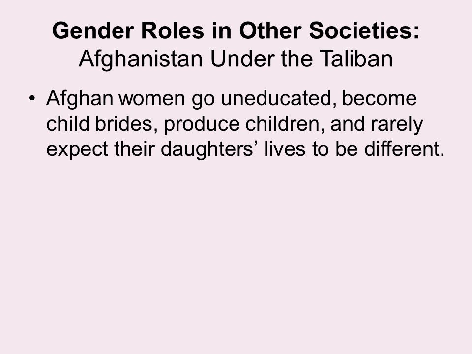 Gender Roles in Other Societies: Afghanistan Under the Taliban